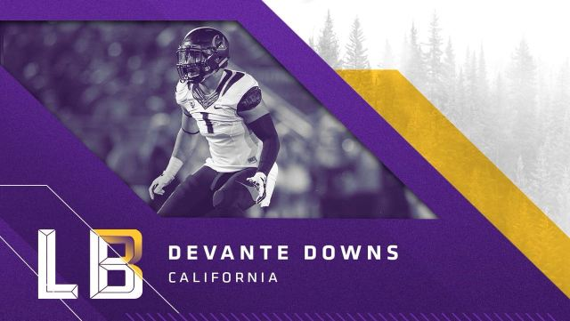 Linebacker Devante Downs, California,, escolha do Vikings