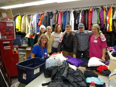 Our youth with Youth Coordinator Heidi Lewis (front) and parent Sally Glover at the Nederland Clothes closet.