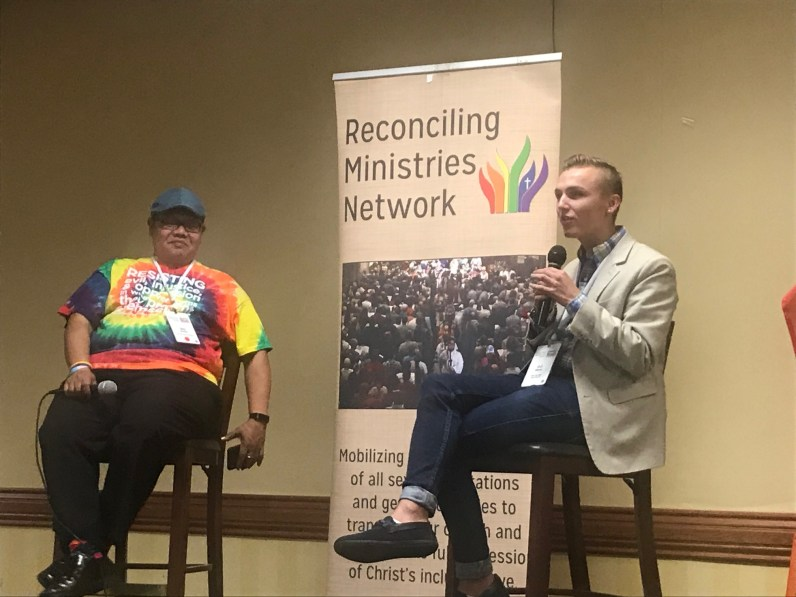 Reconciling Ministries dinner with speaker J. J. Warren who is spending his summer traveling the country and speaking to groups about what it can mean to be an inclusive community.