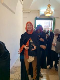 Lisa getting ready to enter Ibrahami Mosque/The Tomb of the Patriarchs in Hebron.