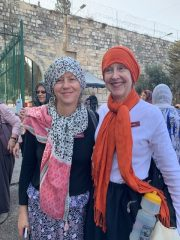 Brenda and Lisa getting ready to enter Dome of the Rock and Al Aqua Mosque.