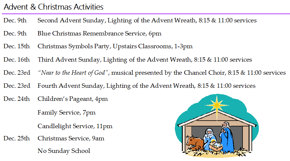 Advent Christmas Events Schedule