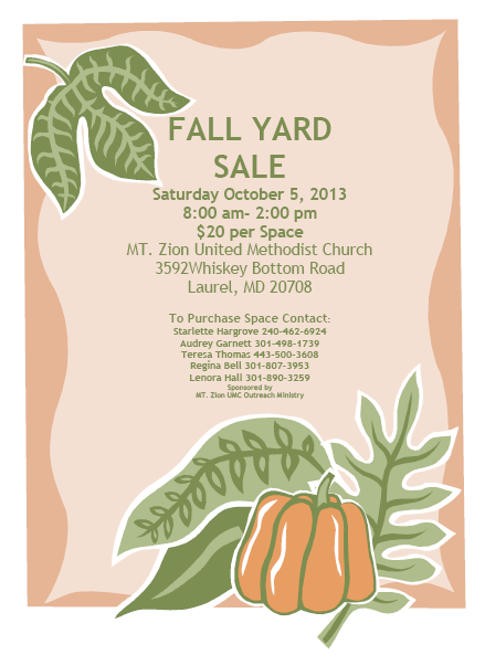 Fall Yard Sale Mt Zion