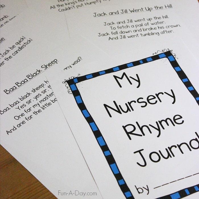 Printable Preschool Nursery Rhymes Journal Fun A Day