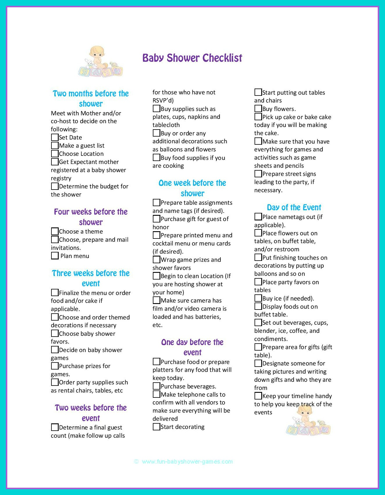 Baby Shower To Do List Template : shower, template, Complete, Shower, Planning, Guide