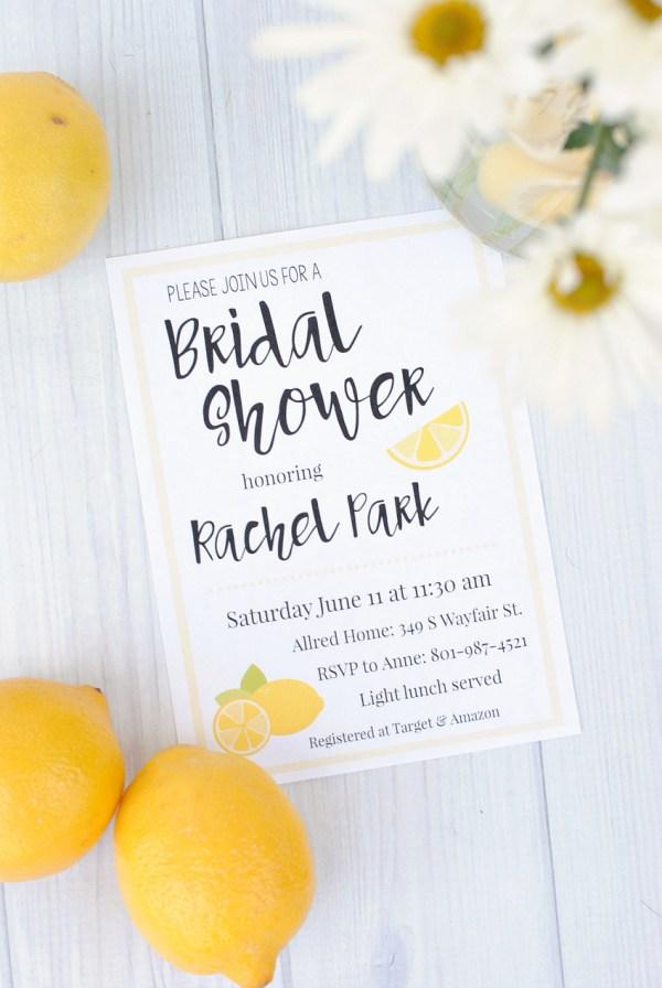 Lemon Themed Bridal Shower Invitations