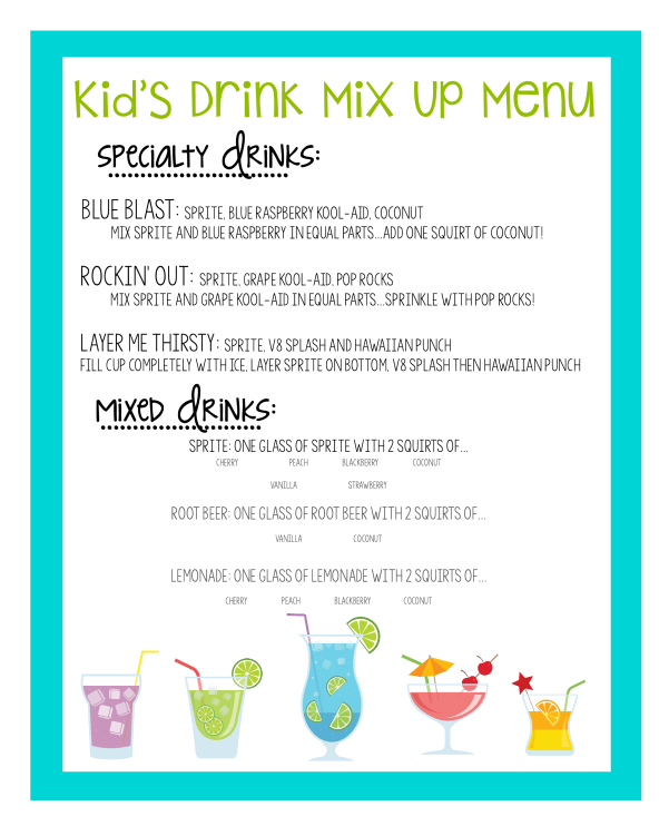 Kids Drink Menu