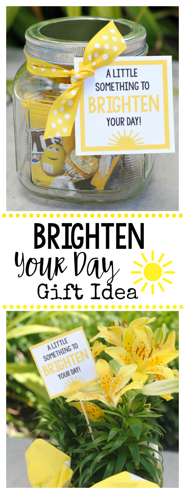 Cheer Up Gift Idea-A Little Something to Brighten Your Day. Give this fun and bright gift idea to cheer someone up. such a simple gift idea. #gift #giftidea #brightenyourdaygift #fungifts