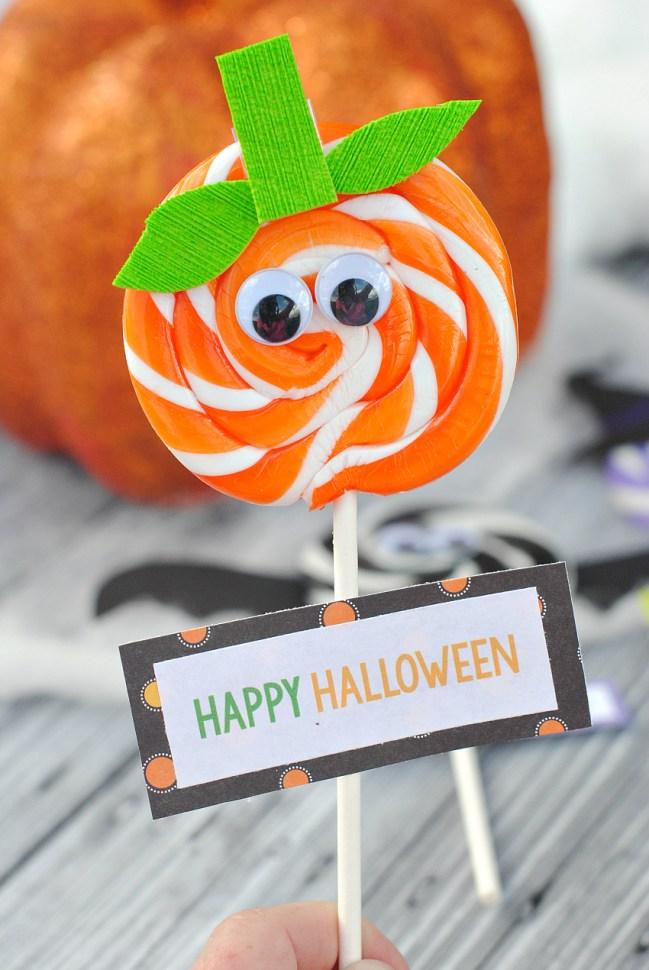 Halloween Pumpkin Sucker Party Favor Idea