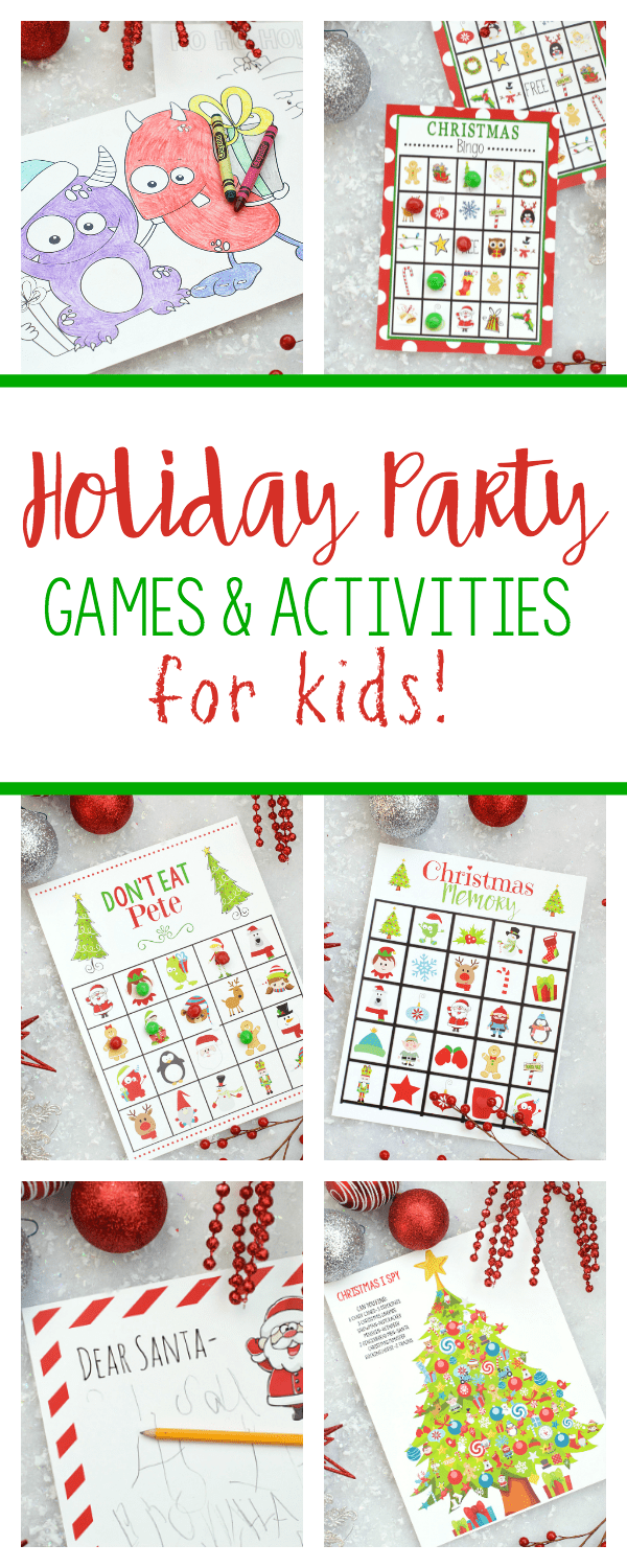 Christmas Party Games for Kids-These printable holiday games are perfect for a party! Bingo, coloring pages, don't eat pete, I Spy, a letter to Santa and more! Print and play now! #christmas #christmasgames