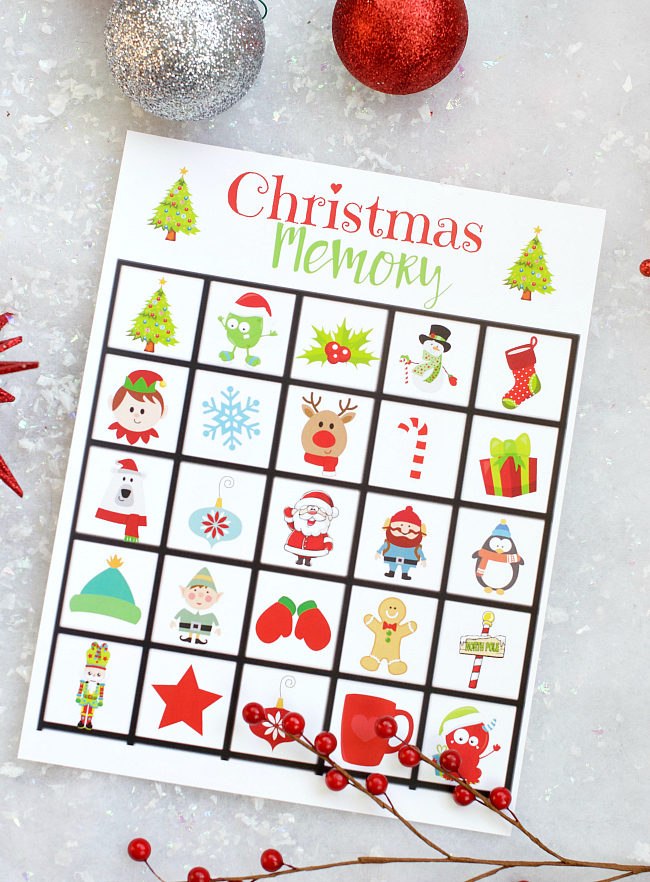 Free Printable Christmas Memory Game for Kids