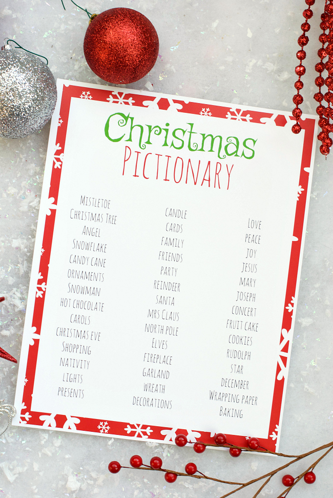 Christmas Pictionary.Free Printable Holiday Party Games For Kids Fun Squared
