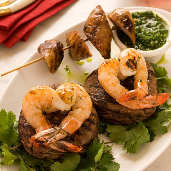 Steak with Heart Shaped Shrimp