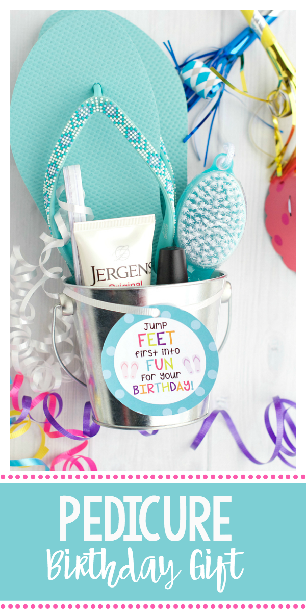 Pedicure Gift Basket-Cute Birthday Gift for Friends. Simple birthday gift for friends. #birthdaygift #birthdaypresent #birthday #giftidea