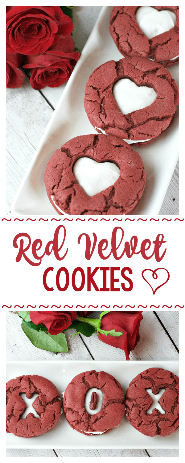 Red Velvet Whoopie Pies for Valentine's Day-These Valentine's cookies make a perfect treat for a romantic dinner or for the kids for a party! #valentinesday #valentinesdaytreats #cookies