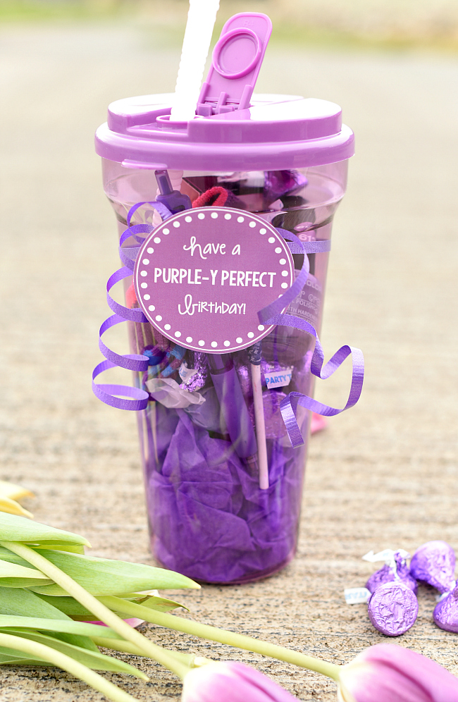 Purple Gift For Birthdays A Friend Grab Container Find Some Fun