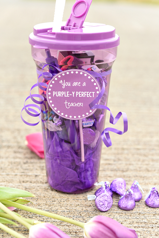 Purple Themed Teacher Appreciation Gift Idea-Fill a purple gift basket with all things purple and add this cute tag for a fun teacher gift idea! #teacherappreciation #teachergifts #giftideas