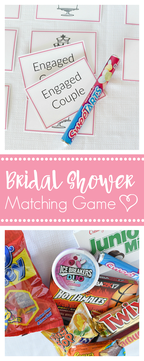 Fun Bridal Shower Games-Candy Bar Matching Game with Free Printable Cards. Fun bridal shower games for your next party! #bridalshowergames #bridalpartygames #funbridalshowergames #bridalshower #fungames