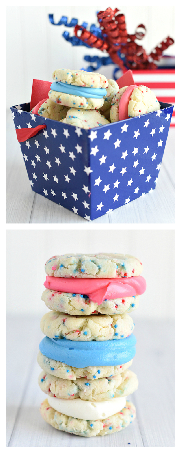 Patriotic Dessert! These fun red, white and blue cookies are super easy to make and perfect treat for any patriotic American holiday like 4th of July or Memorial Day. Only 5 ingredients needed. #4thofjuly #cookies #redwhiteandblue #dessert #desserts #recipes #memorialday