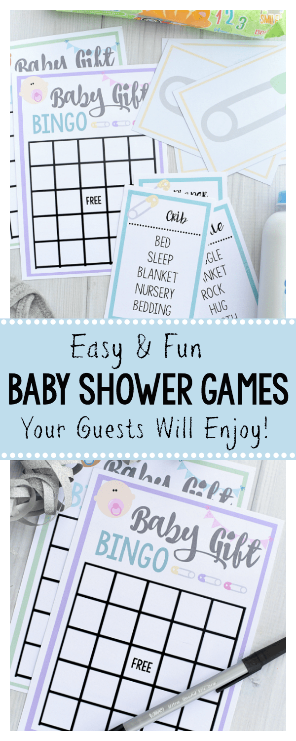 Fun and Free Printable Baby Shower Games-Great for Large Groups! These fun baby shower games are super easy-all you need to do is print and play. Taboo, bingo and more. #babyshower #babyshowergames #games #partygames