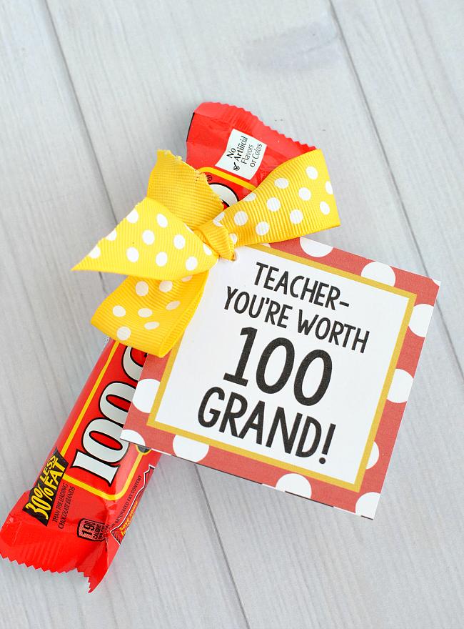 100 Grand Teacher Gift Tag