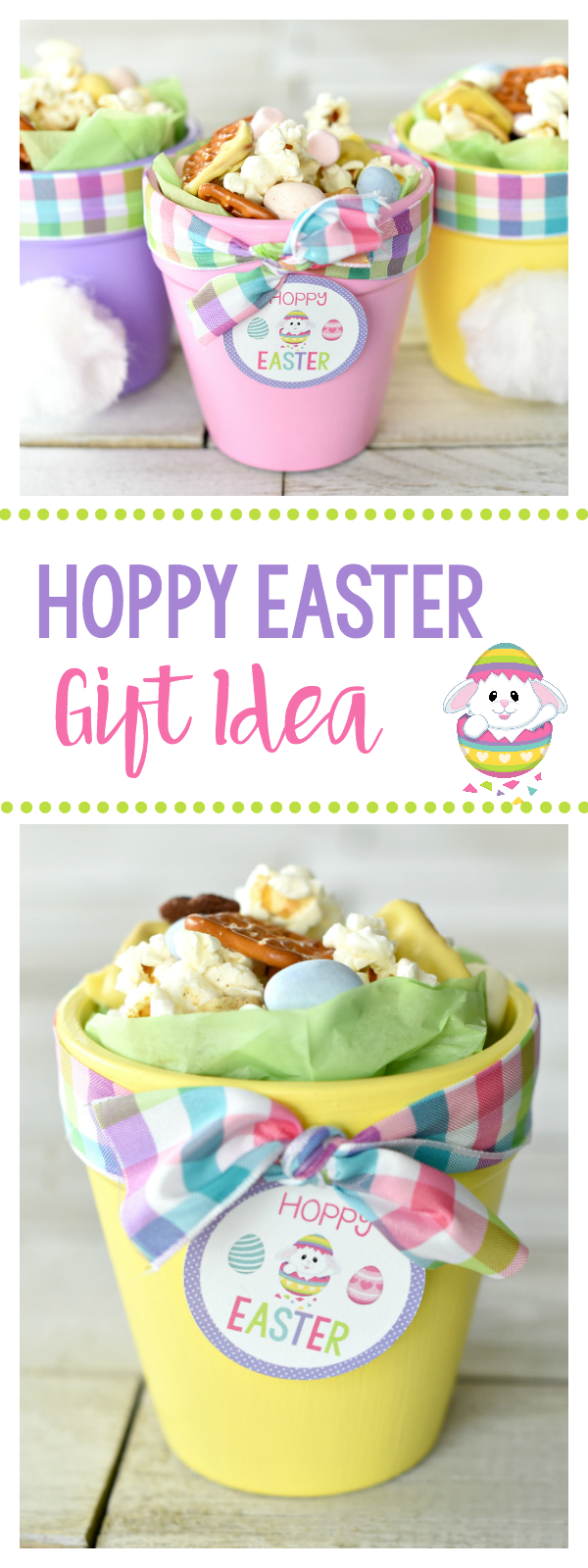Cute Easter Gift-Bunny Pots Filled with a Fun Easter Snack Mix. This cute Easter craft idea is fun to do with the kids or to make as an Easter gift for friends! Plus the snack mix tastes amazing! #easter #snacks #crafts #eastercrafts
