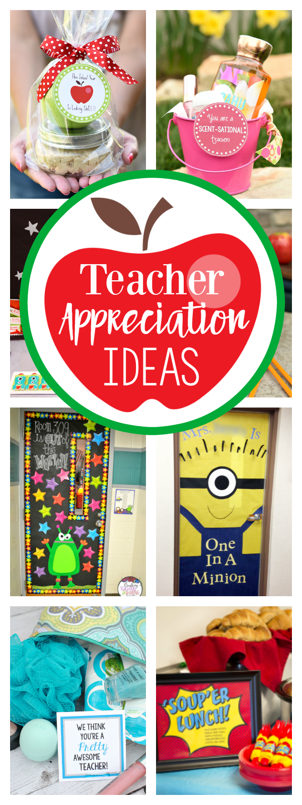 Teacher Appreciation Week Ideas-Teacher Gift Ideas, Door Decorations, Themes and More. So if you need some fun ideas to show your teacher your appreciation, we have you covered. #teacherappreciation #teachergifts #teacherappreciationweek #weloveteachers