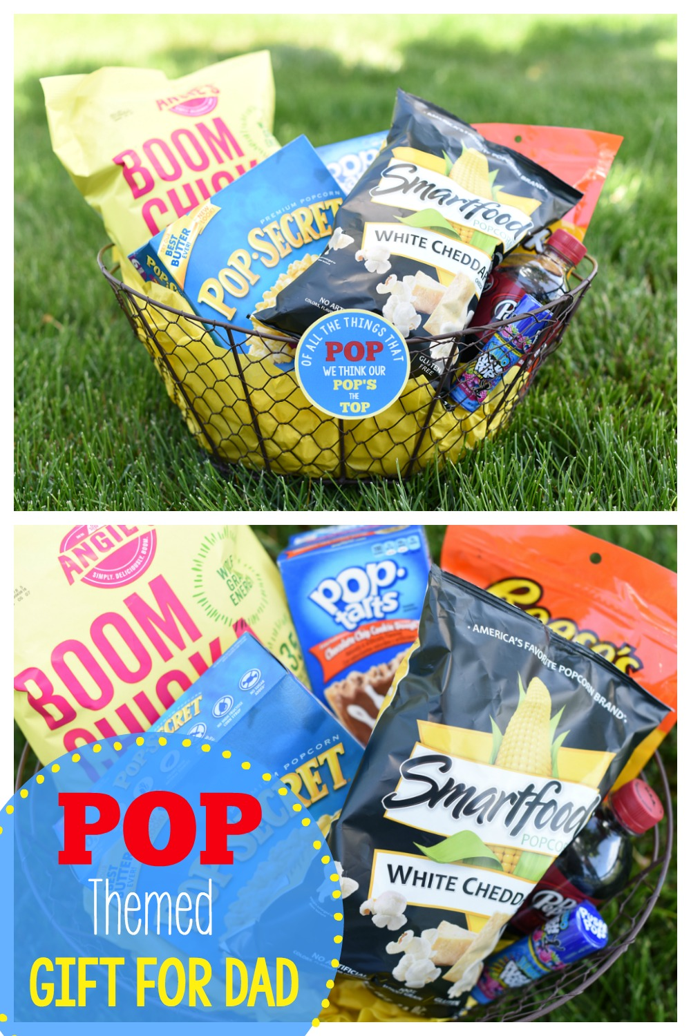 DIY Father's Day Basket Ideas-Fill a basket with all things POP for a cute pop themed Father's Day gift basket for Dad. So easy to make and fun to give! #fathersday #giftsfordad #dadgifts #fathersdaygift #fathersdaygifts