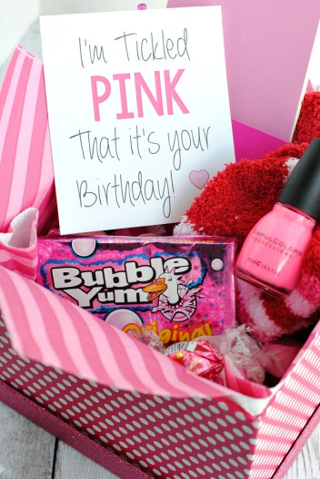 Tickled Pink Birthday Gift Idea for Friends-A cute way to tell a friend happy birthday with a gift basket full of all things pink! #pink #gifts #giftideas #giftbaskets