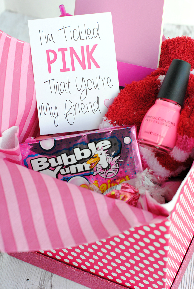Tickled Pink Gift Idea-Fill a box with all things pink and then add this cute tag for a friend, mom, sister or anyone you are glad to have in your life! #gifts #giftideas #pink #friends