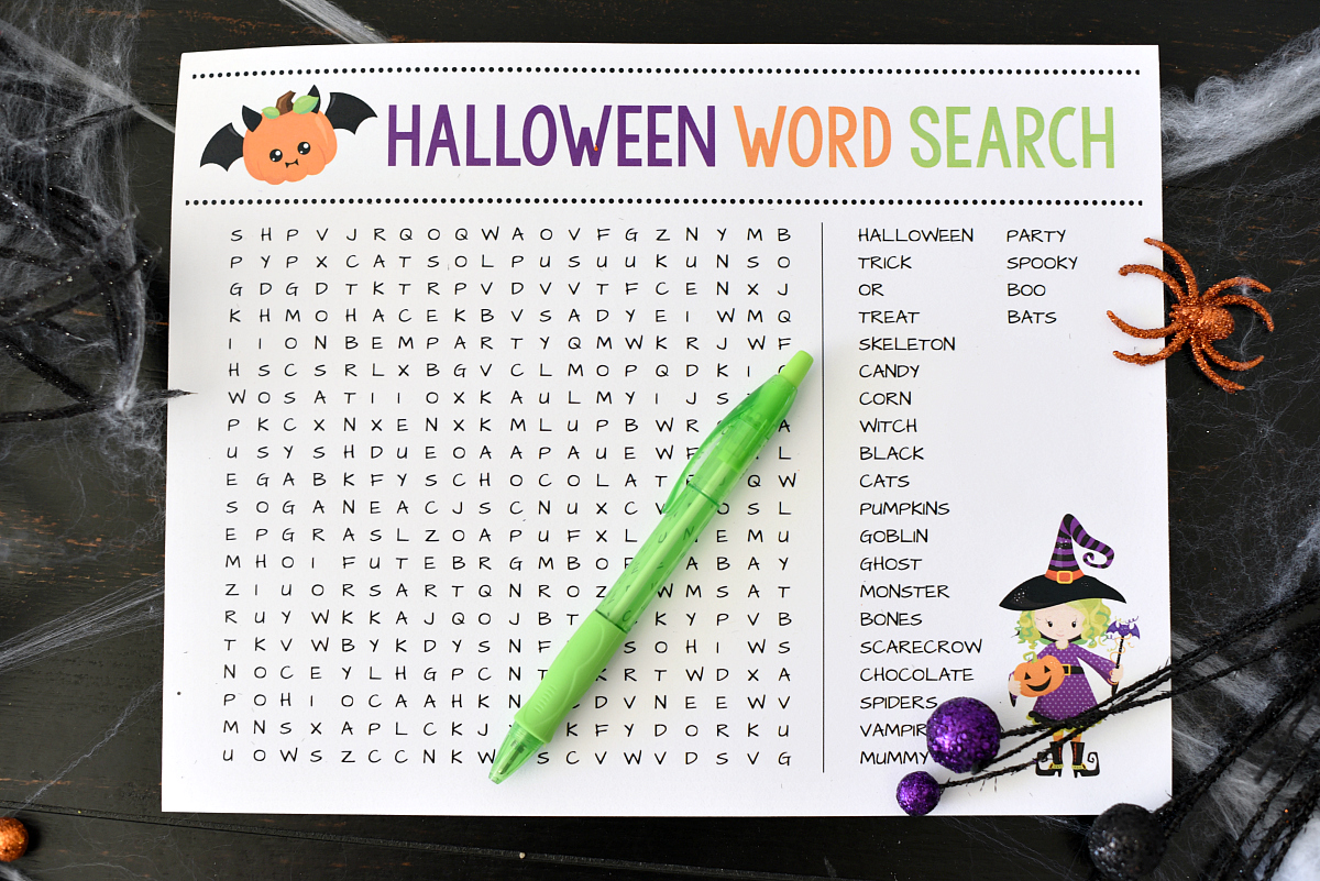 Halloween Word Search Printable Game