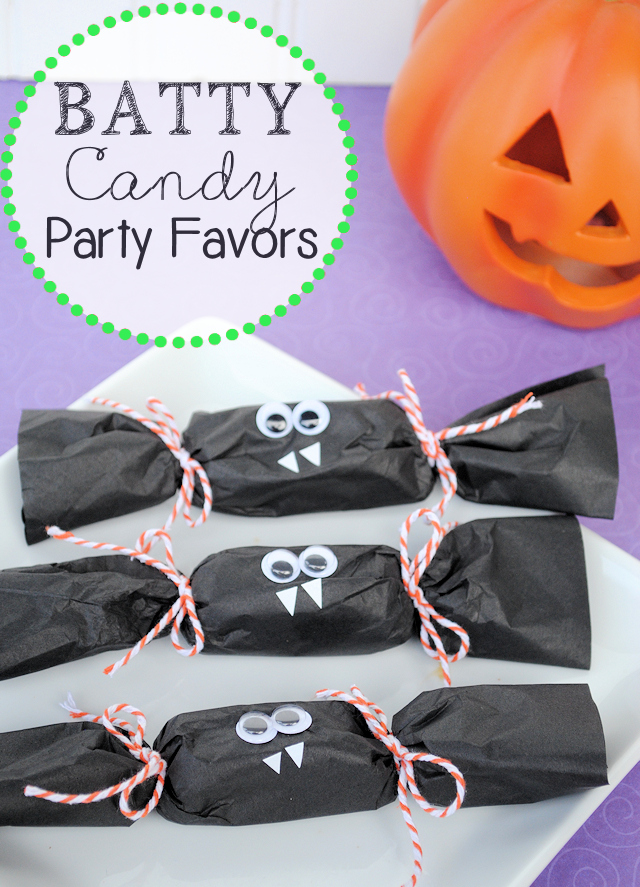 Batty Halloween Party Favors-These cute little bats are a fun Halloween craft to make with the kids at a Halloween class party or they make a great take home gift if you're throwing a Halloween bash. #Halloween #party #Halloweenparty #crafts #Halloweencrafts