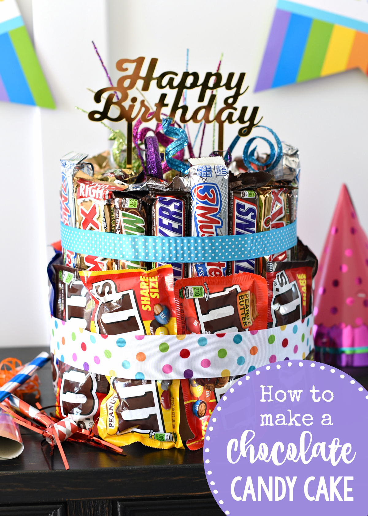 How to Make a Chocolate Candy Cake-This is the best birthday gift ever for someone who loves chocolate! #chocolate #birthday #gifts