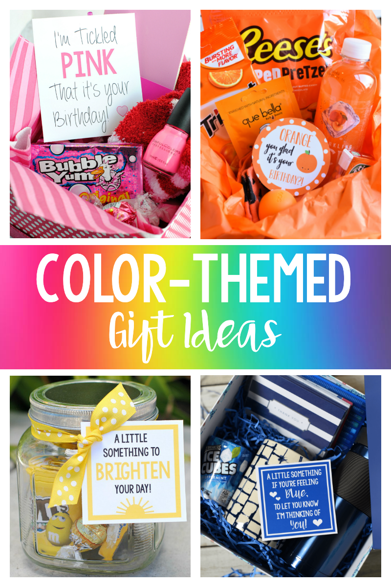 Color Themed Gift Basket Ideas-Whether you need a birthday gift, a thank you gift, or just want to brighten someone's day, these color themed gifts are fun to give and to receive! #birthdaygifts #justbecausegifts #thankyougifts #giftideas #giftbaskets #colorthemedgifts