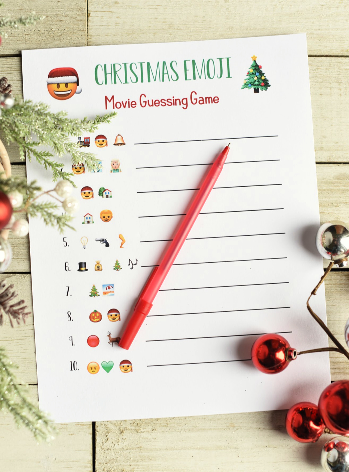 Fun Christmas Party Games: Print and play this emoji guessing game. 3 versions to try-guess the Christmas song or movie (and a kid's version) just from the emojis you see! Great Christmas party game for groups. #christmasparty #christmas #christmasgames