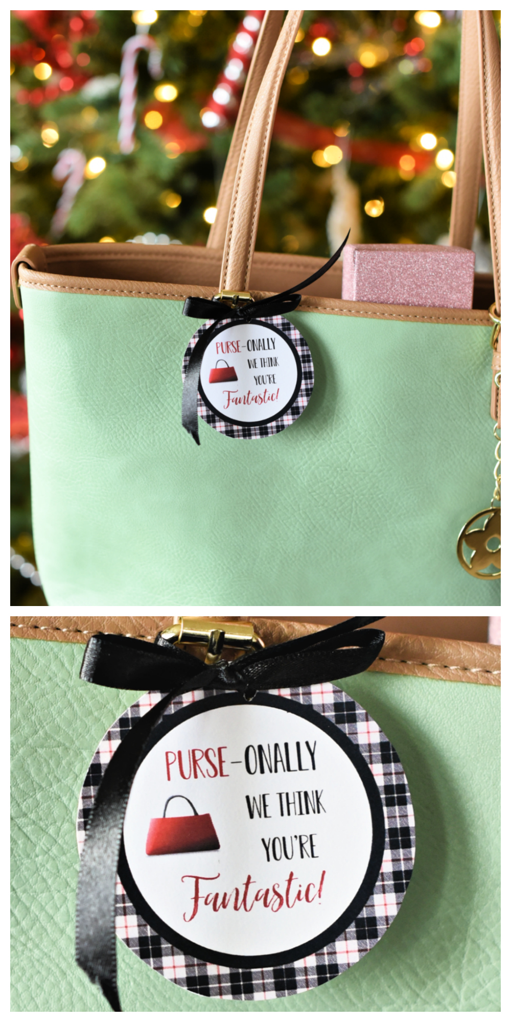 Purse-onally We Think You are Fantastic! This is a fun and creative gift for her. Whether it's your mom, mother in law, grandma, or friends, this is a great gift for women. Fill a purse with fun things and add this cute printable tag. #christmasgifts #christmasgiftidea #giftsforher