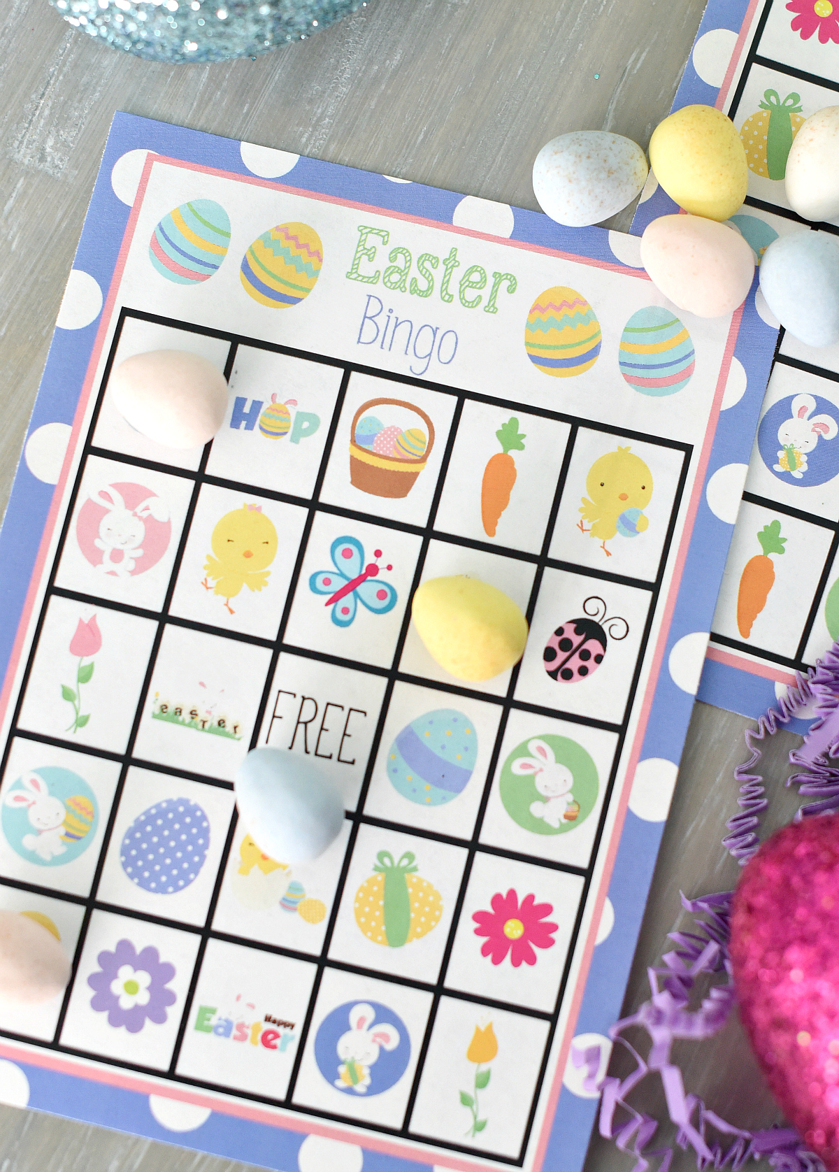 This is a picture of Dramatic Printable Easter Bingo Cards