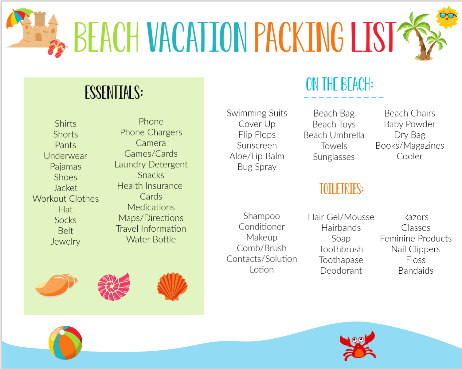 Printable Beach Vacation Packing List for Famliies