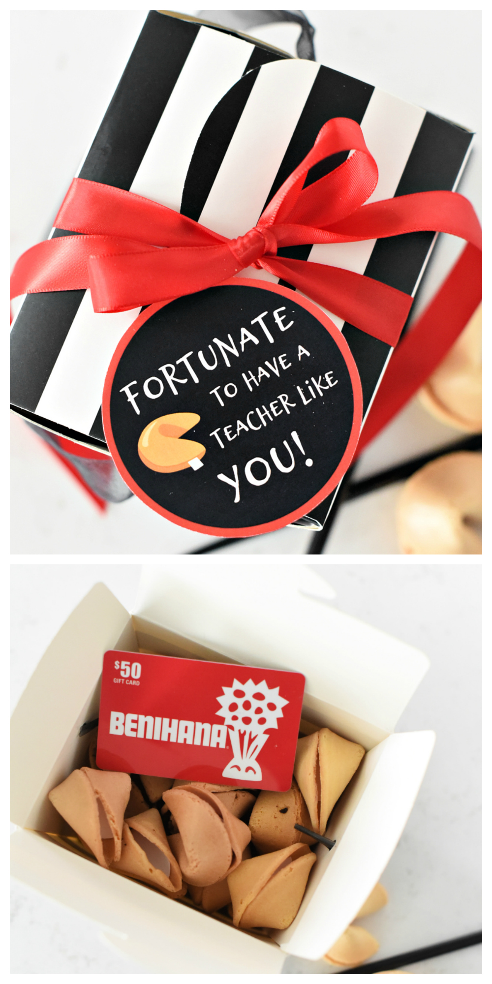 Fortunate to Have a Teacher Like You Gift Idea-Fill a cute take-out box with fortune cookies and a gift card and you've got a fun and easy teacher gift idea! #teacherappreciation #teachergifts #giftideas #teacherappreciationweek