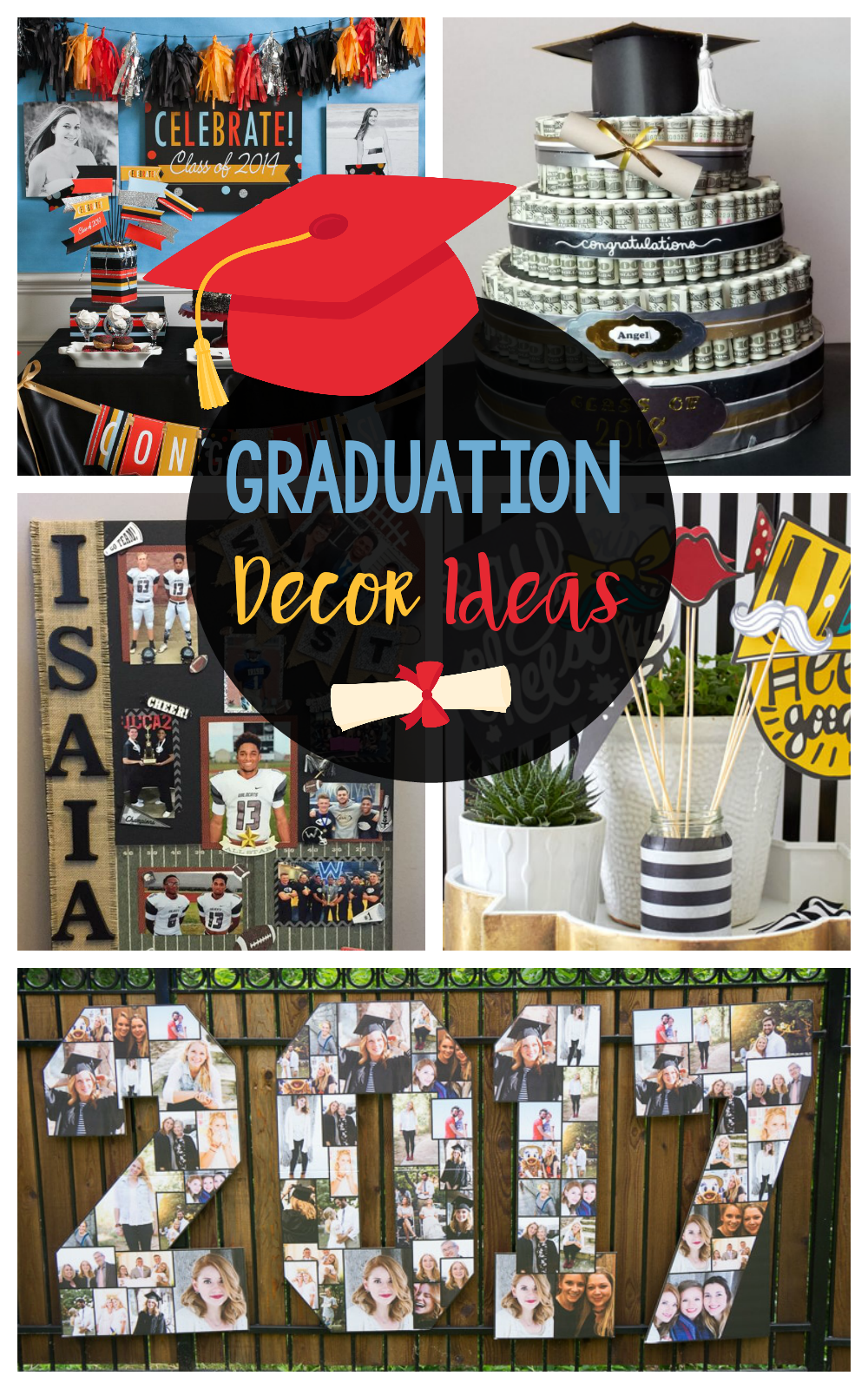 DIY Graduation Decorations and Ideas-Fun centerpieces, banners, and photo memory boards for your graduation party! #graduation #gradparty #graddecor