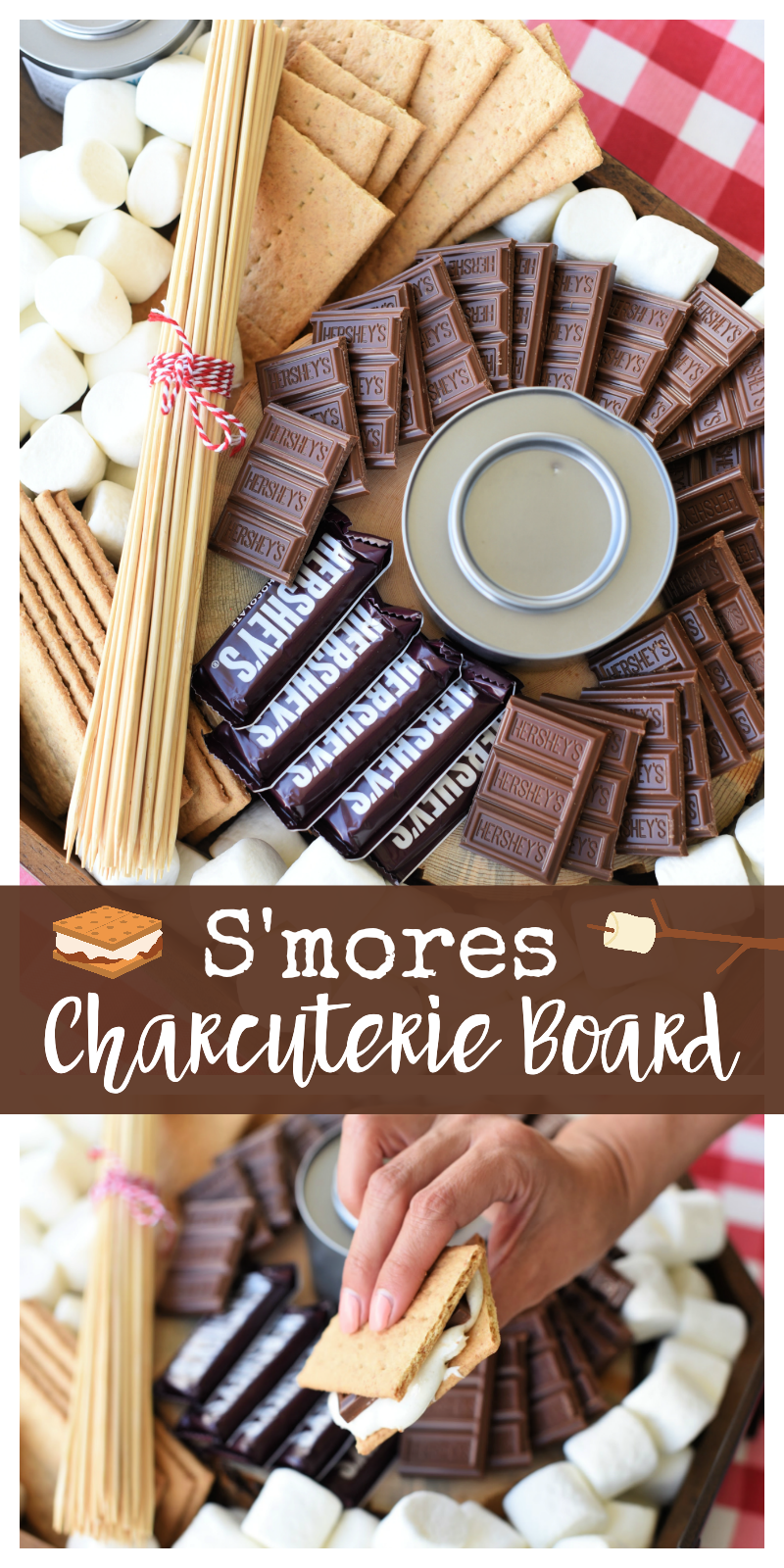 Simple S'mores charcuterie board idea. Make your own s'mores charcuterie board for your next summer party. So simple and so fun. #smores #smorescharcuterieboard #charcuterieboard #funpartyidea