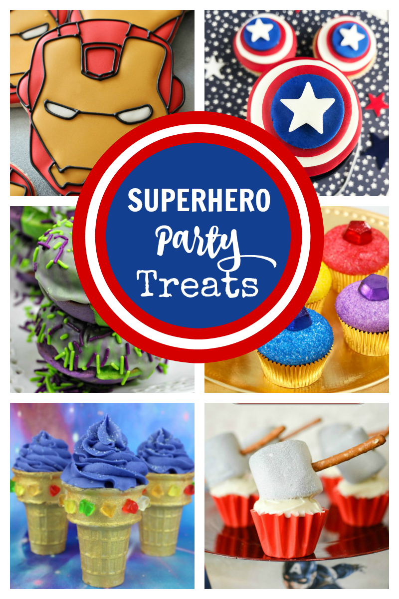 Superhero Party Treat Ideas-These fun Avengers desserts are going to make your Avengers superhero party a HUGE hit! #desserts #avengers #superhero #superheroparty #avengersparty
