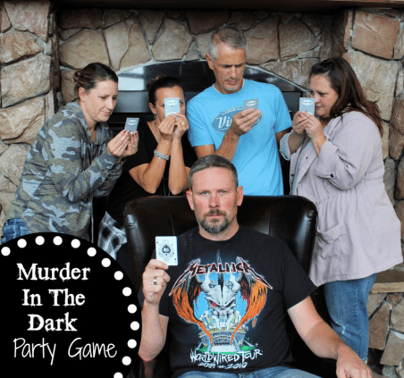 Fun Murder in the Dark party game. Play this game at your next party, it's such fun and so simple to put together. #partygame #murderinthedarkgame #fungames #funpartygames