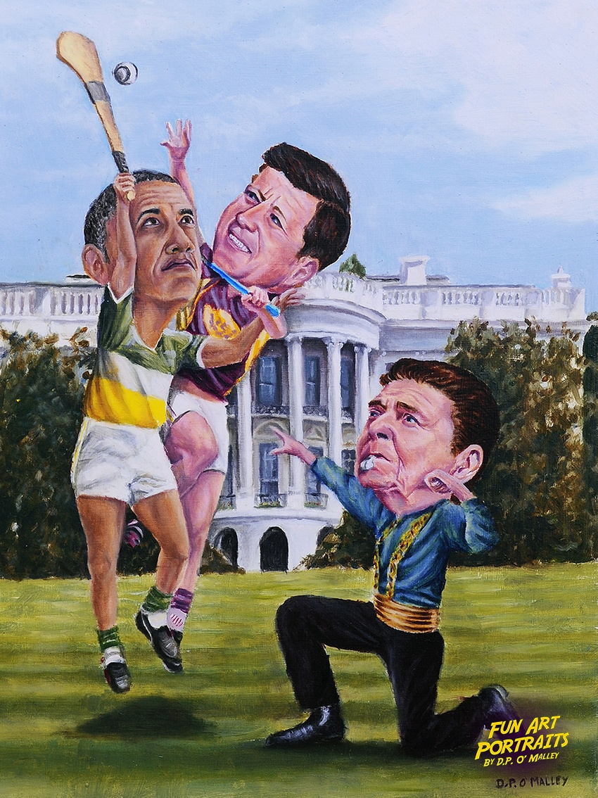 Obama and JFK play hurling infront of the white-house refereed by Reagan