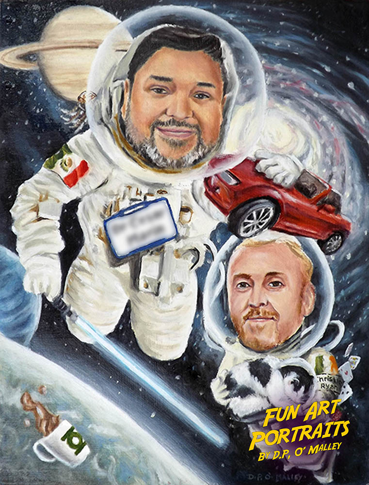 an Astronaut plays with a car in space while his friend holds a cat