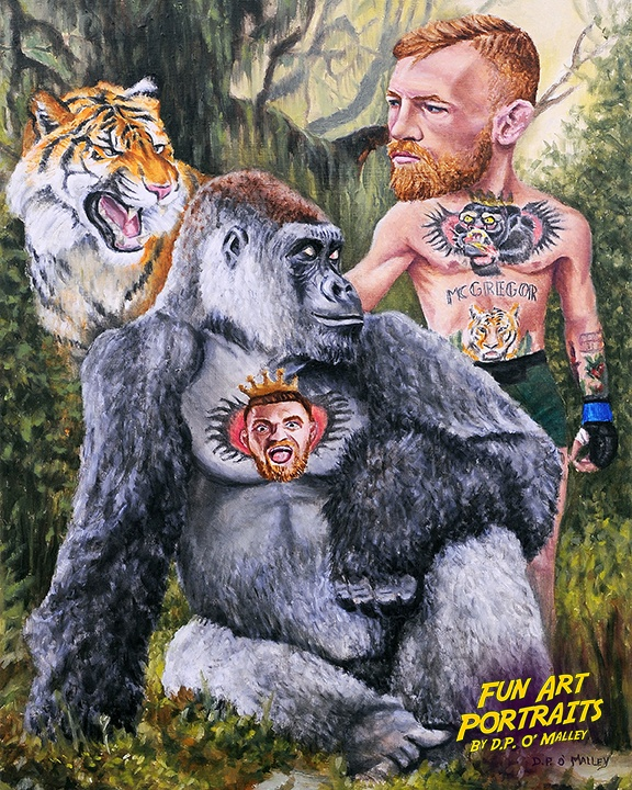 Connor McGregor in the jungle with a tattooed gorilla and a tiger
