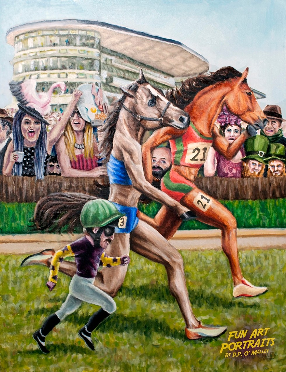 two horses and a jockey have a footrace in front of a crowd