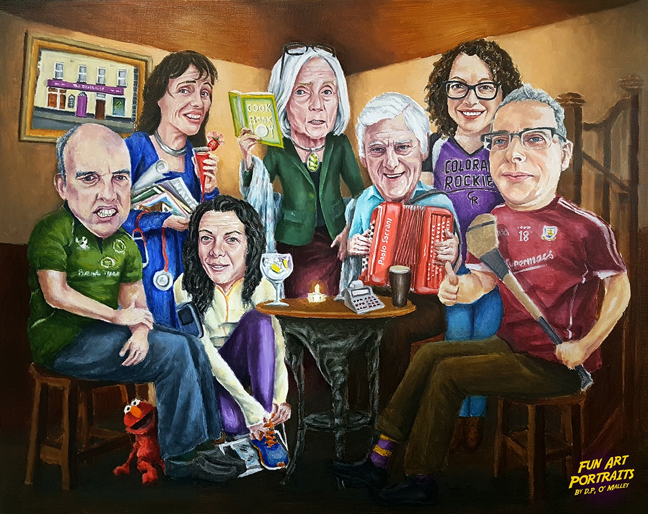 A family are enjoy a music gathering in an Irish pub