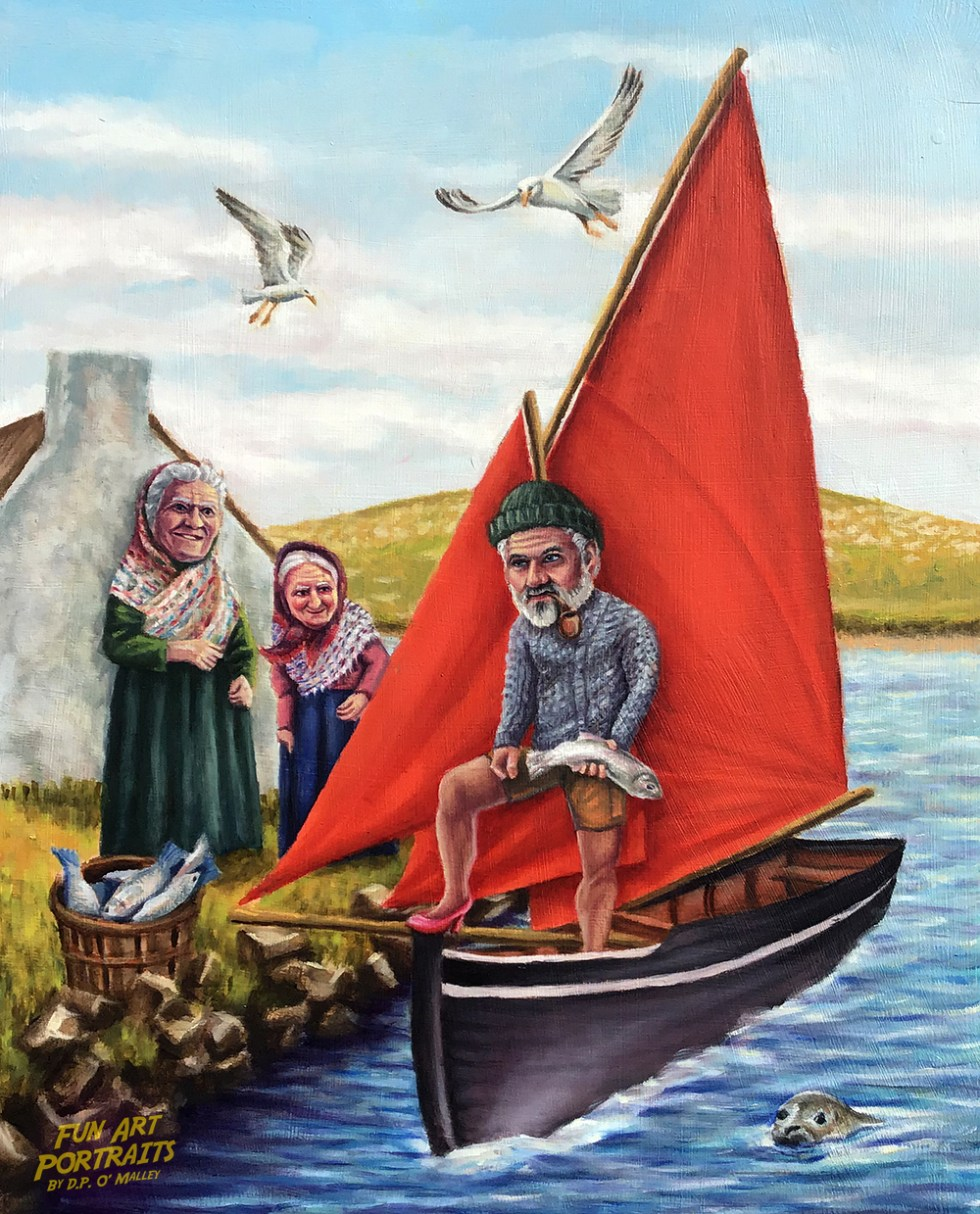 A fisherman in a red sailed boat takes fish from two old women