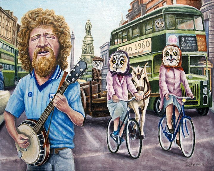 Luke Kelly sing about dublin as two owls cycle and bus passes